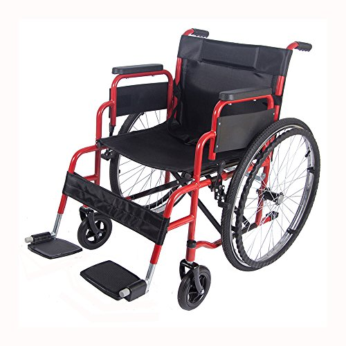 Panana All AID Siver Footrest Self Propelled Folding Lightweight Transit Comfort Wheelchair Red
