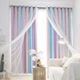 UNISTAR Blackout Stars Kids Curtains for Girls Bedroom Aesthetic Decor Colorful Kawaii Double Layer Star Cut Out Stripe Pink Rainbow Window Wall Home Decoration Curtain,1 Panel,W52 x L108 Inches