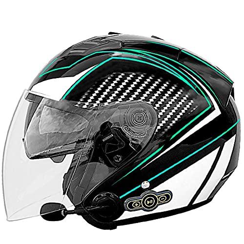 NZGMA Caschi da Moto Bluetooth, Casco da Moto aperto per Adulto Casco Mezzo Casco da 3/4 con visiera parasole ribaltabile, per Scooter ciclomotore da Strada Cruiser Chopper Mofa, certificazione