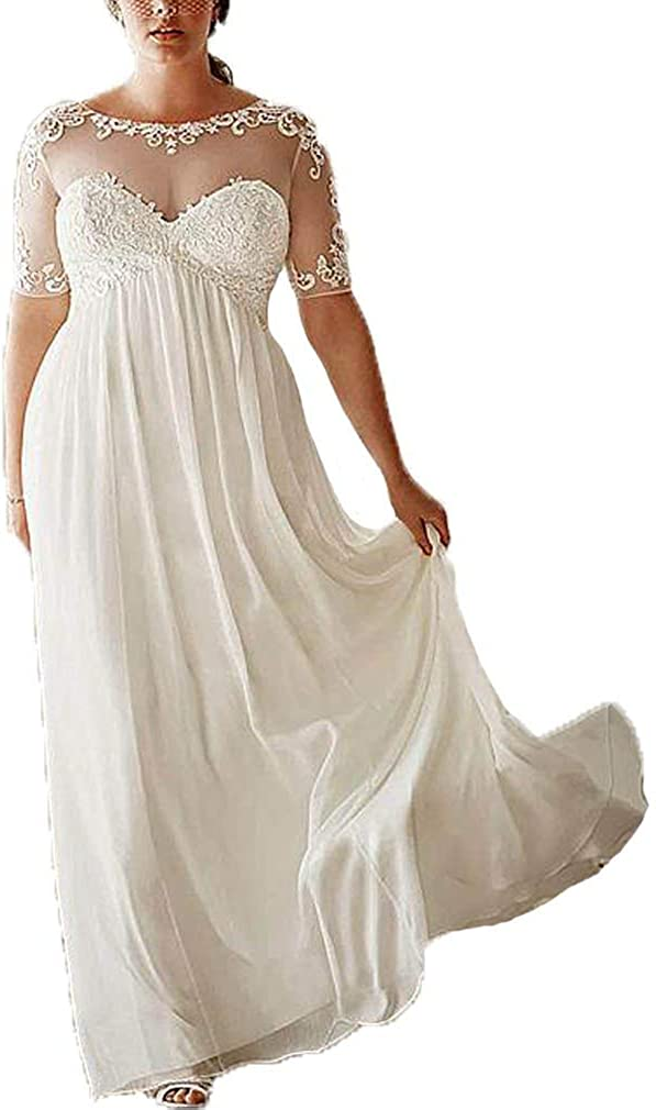 Melisa Bohemian Chiffon A Line Lace Applique Long Wedding Dresses for Bride with Short Sleeve Bridal Gowns