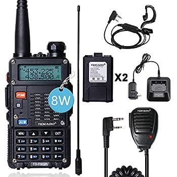 TIDRADIO TD-F9GP Ham Radio Handheld Upgraded Version of UV-5R Radio 2 Way Radio High Power Walkie Talkies with Long Antenna,Hand Mic and One More Battery  1Pack Full Kits-Black