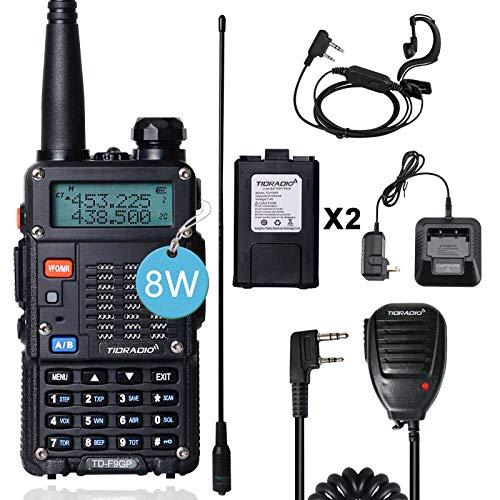 TIDRADIO TD-F9GP Ham Radio Handheld Upgraded Version of UV-5R Radio 2 Way Radio High Power Walkie Talkies with Long Antenna,Hand Mic and One More Battery (1Pack Full Kits-Black)