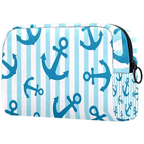 Bolso de Cosméticos Neceser de Viaje para Mujer y Niñas Organizador de Bolso Cosmético Accesorios de Viaje Estuche de Maquillaje Anclas Azules Rayas 18.5x7.5x13cm