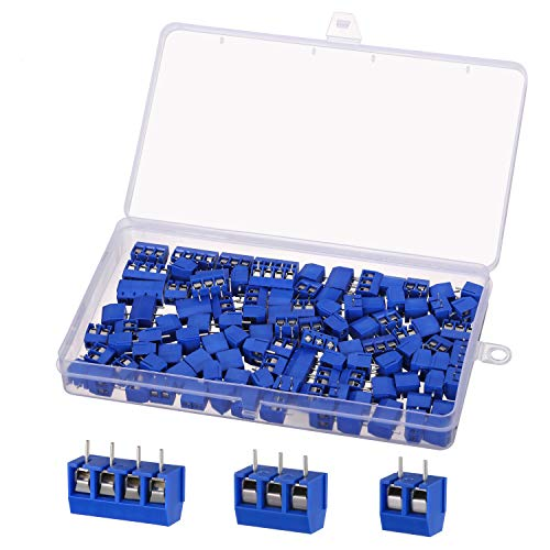 100 Stücke PCB Mount Screw Terminal Block, KWOKWEI Schraubklemme Steckverbinder 5mm 2 Pin / 3 Pin / 4Pin Schraubklemmenblock Terminal Steckverbinder für Arduino DIY-Platine Dupont-Draht