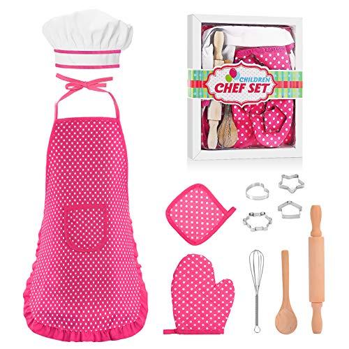 KITY Jouet Garcon 3-15 Ans, Tablier Enfant Cuisine Fille Cadeaux 4-12 Ans Fille Garcon Cadeau Anniversaire 4-12 Ans Garcon Jouet 3-12 Ans Fille Anniversaire Cadeau (Rose)