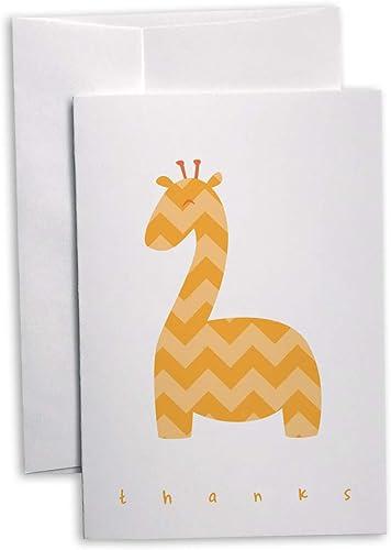 Chevron Baby Thank You Note Cards - 48 Cards & Envelopes (Yellow Giraffe)