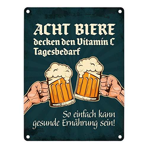 trendaffe - Bier Metallschild mit Spruch: Acht Biere Decken den Vitamin C Tagesbedarf gesund