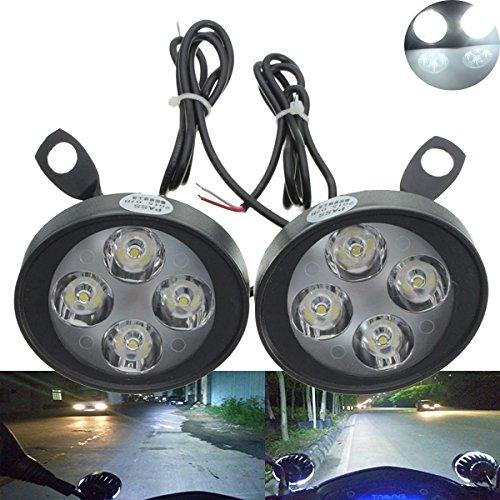 TUINCYN Lot de 2 lampes LED universelles pour moto, rétroviseur, antibrouillard, boîtier noir