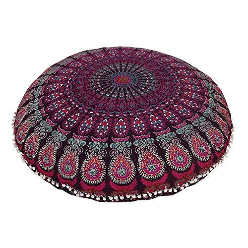 32' Lavender Ombre Floor Pillow Meditation Bohemian Cushion Seating Throw Cover Hippie Decorative Boho Indian Large Ottoman Outdoor Home Decor Cases Round Sham Mandala Cotton Pouf (Lavender)