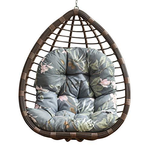 Cesta colgante de interior para asiento de jardín, columpio de huevo, cojín grueso para colgar huevos, hamaca con cremallera (gris)