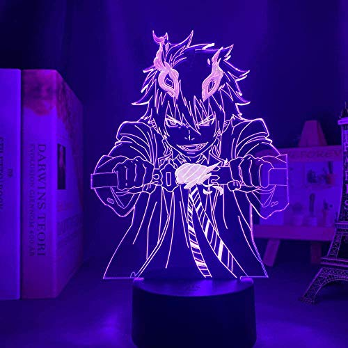 Ilustração de luz noturna 3D anime japonês decoração LED anime 3D Anime Blue Exorcist Rin para decoração de quarto luz noturna presente de aniversário infantil manga quarto mesa 3D Exorcista azul QLWLKJ HOICHAN