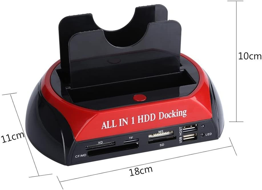 Biuzi Lecteur de disque dur 2,5//3,5 double SATA IDE HDD Base USB 2.0 Lecteur de carte SATA HDD IDE Station daccueil avec emplacement pour carte