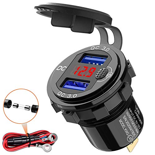 Quick Charge 3.0 - Enchufe USB para coche (12 V, con interruptor, montaje USB, 24 V, resistente al agua, encendedor de cigarrillos, con LED rojo)