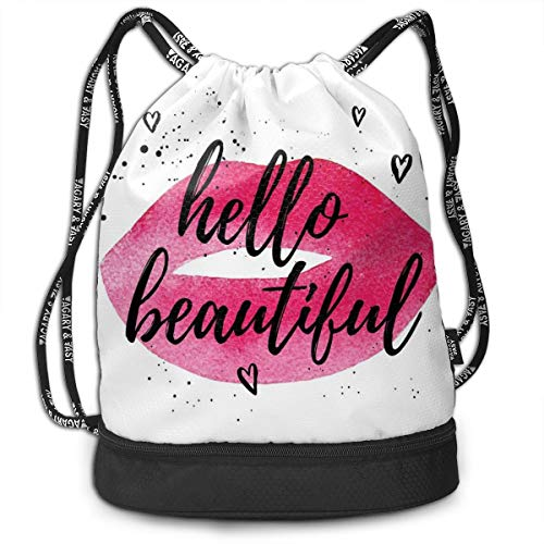 NoBrand Drawstring Backpack String Bag Casual, D2305 Lip Shape In Watercolor With A Phrase Of Love Over With Hearts Valentines Theme