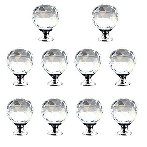 10er Kristall klar Rund Knopf, Möbel Glas Knöpfe Küche Schubladen-Schränke Griffe Closet Dekoration Griff mit Schraube