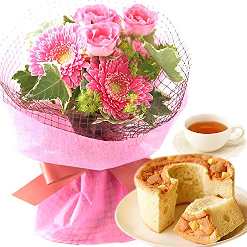 誕生日プレゼント バラ 花コラボ ケーキ洋菓子 花とスイーツ アレンジメント生花 お祝い 内祝い フラワーギフト ミニアレンジメント スイーツ付き (ピンク色)