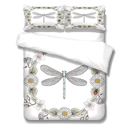 3D Duvet Covers White Sketch Dragonfly 78.7 X 78.7 inch Double–Microfiber Quilt Cover Bedding Set With Pillocases 3 Pcs Bedding Set