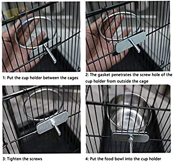 Wegreeco 2 Tasses de Plat d'alimentation pour Oiseaux, Tasses d'alimentation pour Perroquet en Acier Inoxydable,Support de gobelets pour mangeoire pour Eau de Perroquet d'oiseau