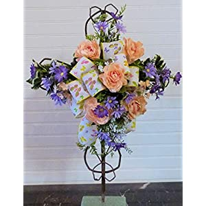 Spring Cemetery Cross, Cemetery Cross with Flowers, Grave Cross with Flowers
