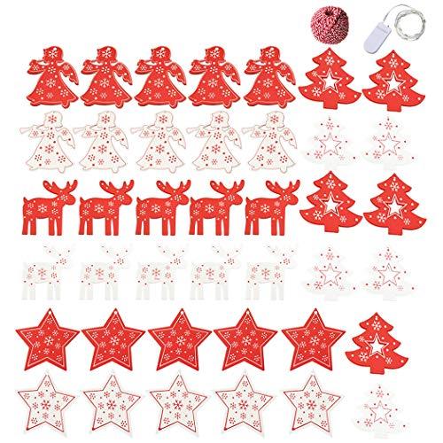 JUSTDOLIFE 40 stuks kerstbout hals DIY leuk houten stuk met katoenen koord U-snoer