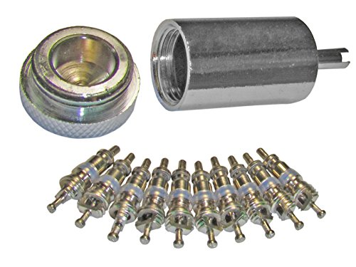 Price comparison product image Access Valve Core Remover Installer + 10 Replacement Cores for AC & Refrigeration