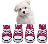 abcGoodefg Pet Dog Puppy Canvas Sport Shoes Sneaker Boots, Outdoor Nonslip Causal Shoes, Rubber Sole+Soft Cotton Inner Fabric (#4(1.732.20), Pink)