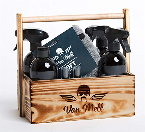 Van Mell Bikerhandtasche mit 10 Produkten zur Bikepflege in Holzträger