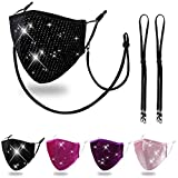 Wulcea Reusable Cloth Face Mask Women Female Lady, Washable Fashion Velvet Fabric Madks Mouth Cover, Glitter Rhinestone Sequin Bling Diamond Bedazzled Sparkle Purple Pink Black Peach