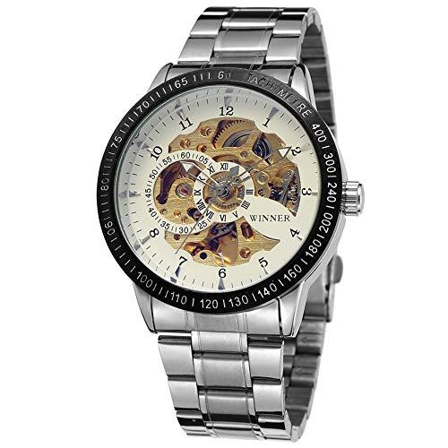 RONSHIN Horloges, Winner Man Auto Mechanische Horloge Multi Skeleton Wijzerplaat RVS Horlogeband Polshorloge
