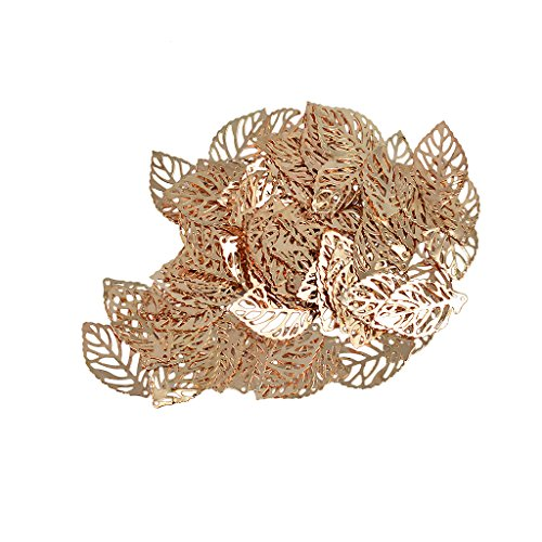 IPOTCH 100pcs Baum Blätter Charm Anhänger zum Basteln von Bettelarmbändern für Armband Halskette Ohrring Gemischte Charms - Rosen-Gold
