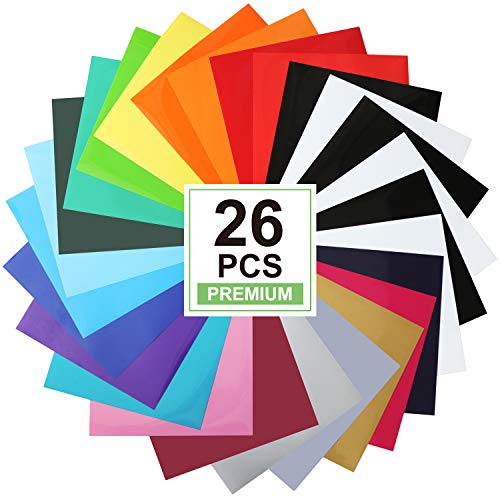 CAREGY Heat Transfer Vinyl for T-Shirts 12in.x10in. 26 Sheets-Iron On Vinyl HTV Bundle…