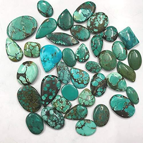Gemkora 100 carats Genuine Tibetan Turquoise Gemstones Wholesale Cabochons Lot, Jewelry Making Loose Gemstone, Polished Gems, DIY, Wire Wrapping, Healing Crystals, Bulk Gemstone, Birthstone Crystals