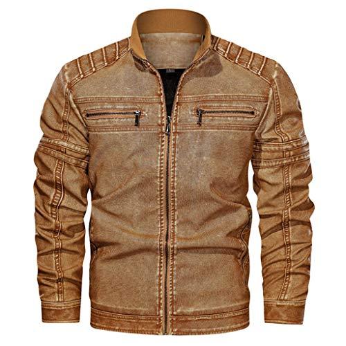 ZODOF Jacket Chaqueta de Cuero de Cuello Alto sin Sombrero Vintage para Hombre Chaqueta Suelta Chaquetas Hombre de Invierno Abrigo De Invierno,Amarillo