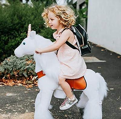PonyCycle Official Classic U Series Ride on White Horse Unicorn Toy Plush Walking Animal Medium Size for Age 4-8 U404