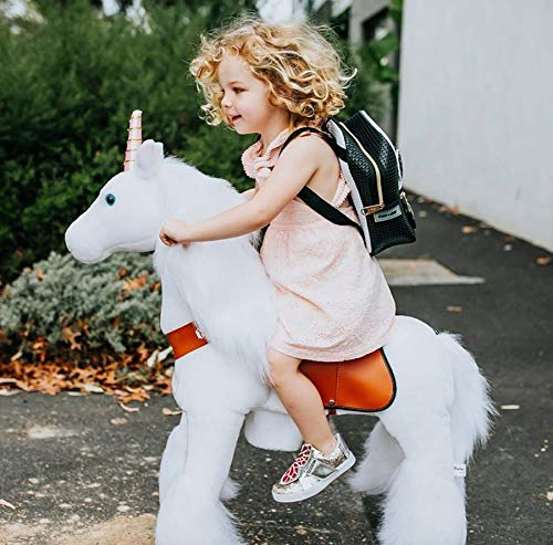 PonyCycle Official Classic U Series Ride on White Horse Unicorn Toy Plush Walking Animal Medium Size for Age 4-8 U404