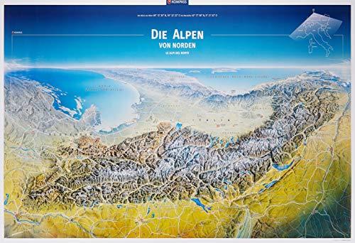 KOMPASS Panorama Die Alpen von Norden, Poster (KOMPASS-Panoramakarten, Band 376)