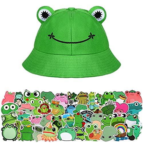Sombrero de Pescador de Rana de Algodón Plegable con 50 Pegatinas de Rana
