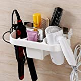 Adhesive Hair Dryer Holder - Wall Mounted Dryer Storage Hair Care Tools Holder for Blow Dryer, Hair Care Tools Organizer Basket with Cups for Curling Flat Straight Hot Iron
