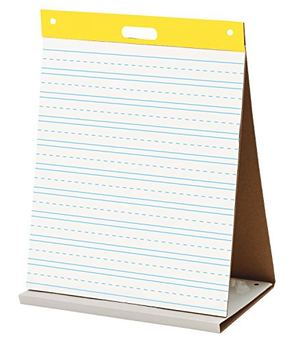 "Easel Pad. Self-stick Tabletop Unruled Pad 20 Sheets Chart Paper Post-it. Best For School, Office, Home, Educational Establishments & Small Group Activities. 20""x23"" (White w/ Primary Lines)"