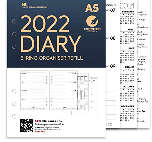 NBplanner A5 2022 Week on two pages diary organiser refill insert Premium Filofax A5 COMPATIBLE