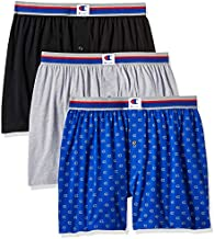 Champion Men's Everyday Comfort Cotton Stretch Knit Boxers 3-Pack, Ebony/Grey Heather/c Logo Print, Large