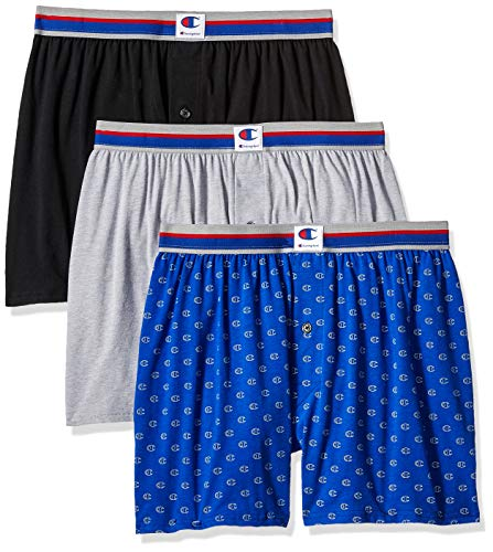 Champion Men's Everyday Comfort Cotton Stretch Knit Boxers 3-Pack, Ebony/Grey Heather/c Logo Print, Medium