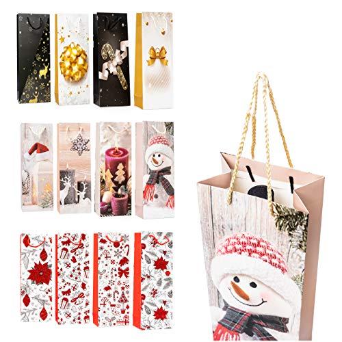 12pcs Bolsas Para Botellas De Vino Temáticas De Navidad - 36x12,5x8,5cm Bolsa Papel Champán Regalos De Navidad, Atractivas Con Excelentes Diseños