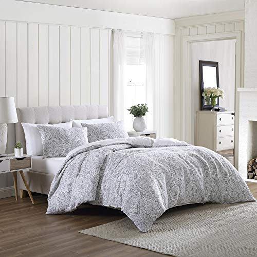 Brielle Home Lacy Medallion Printed Gauze Comforter Set, Grey, King