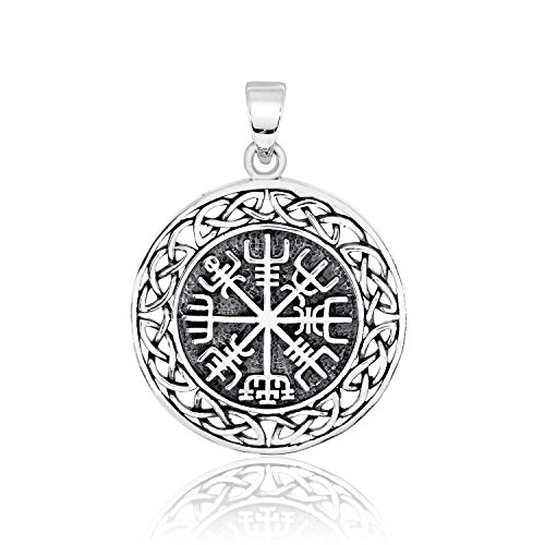 WithLoveSilver Solid 925 Sterling Silver Vegvisir Talisman Celtic Viking Protection Pendant