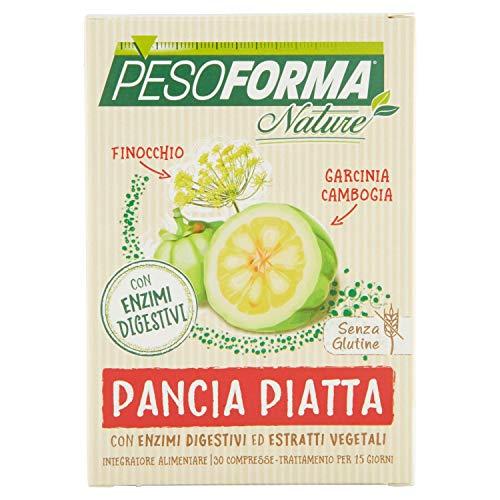 Pesoforma Pancia Piatta Integratore Alimentare a Base di Enzimi Digestivi, Garcinia Cambogia, Finocchio, 30 compresse