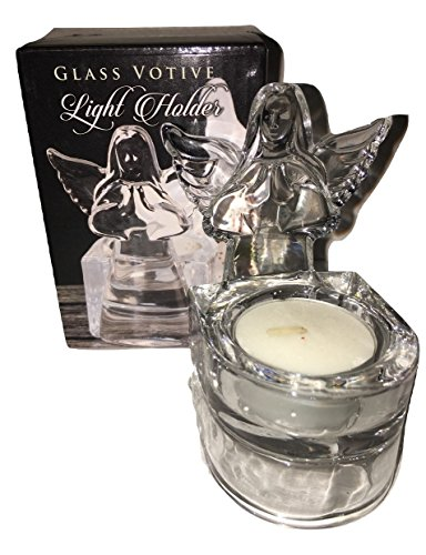Biblegifts Angel Tea light votive Holder 10,2 cm alto o Acquasantiera in vetro a forma di candela culto religioso regalo in scatola
