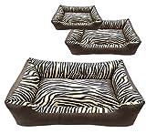 Chien Chien Veloursleder Hundesofa Größe L, Tierbett Afrika Braun mit Zebrastreifen, Abziehbares Hundebett, Format: 80 x 60 cm