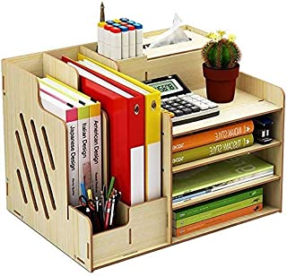 Huizi File Storage Rack, Desk Tidy Stationary Storage Cabinet Desktop Organiser Shelf Comprises Basic Compartments Organis...