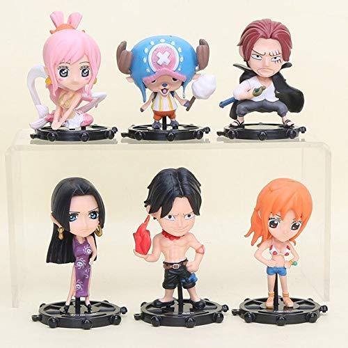 6 stks/set Anime Een Stuk Figuur Luffy Law Sanji Ace Tony Nami Nico Shanks Boa Hancock Charlotte Pudding PVC Figuren speelgoed, met bijl tas